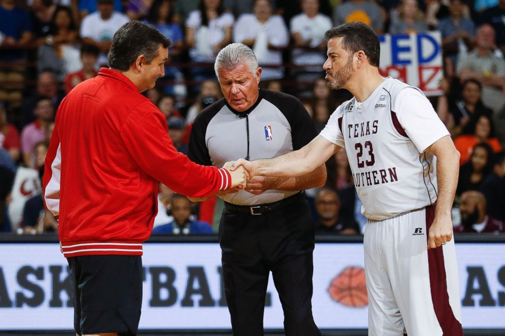 Ted Cruz and Jimmy Kimmel shaking hands