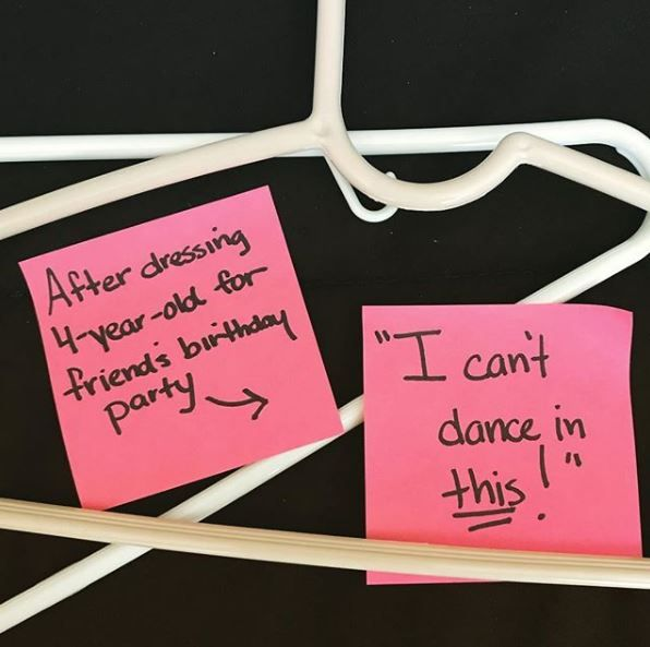 Post-it notes on hangers