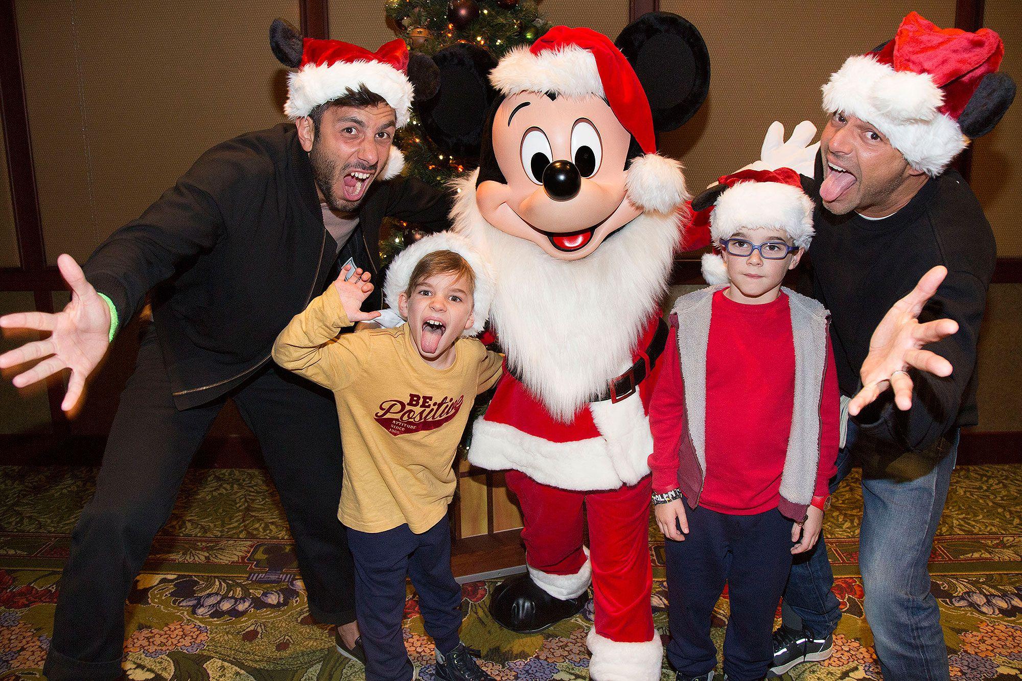 Ricky Martin and family celebrating Christmas at Disneyland