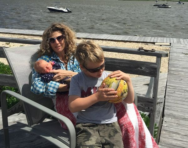 Sophie B. Hawkins and her two children