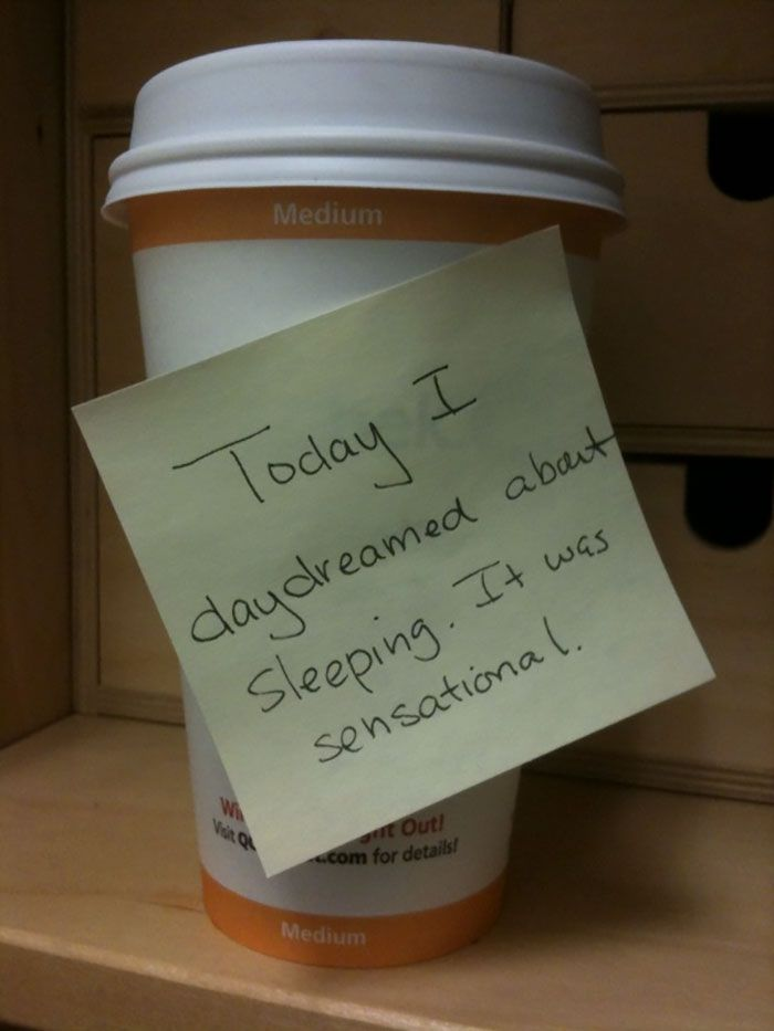 Post-it note on a coffee cup