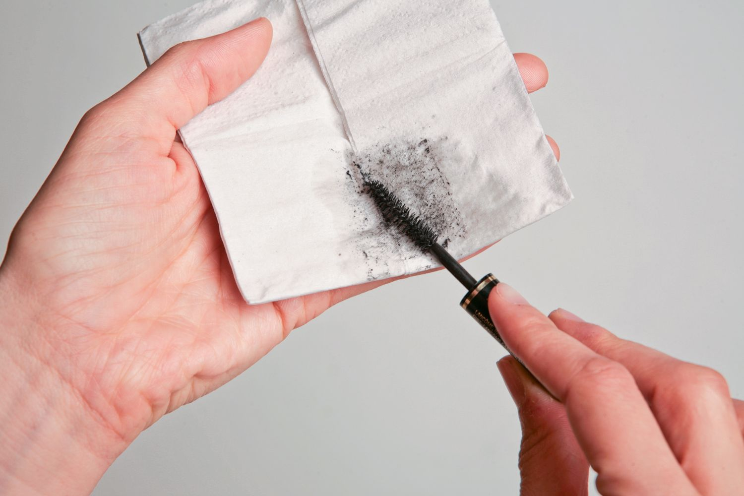 Mascara used on a tissue paper