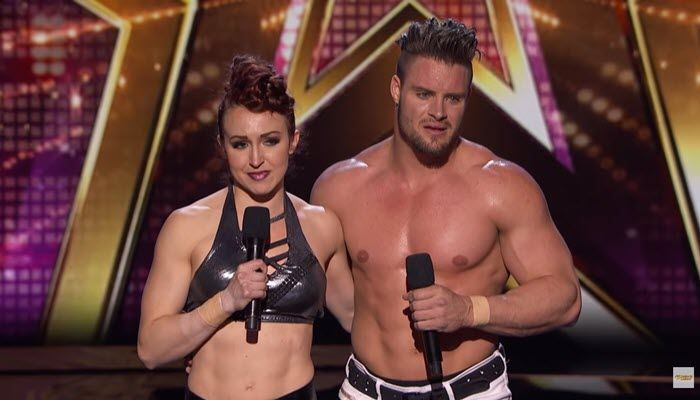 Mary and Tyce in front of the judges