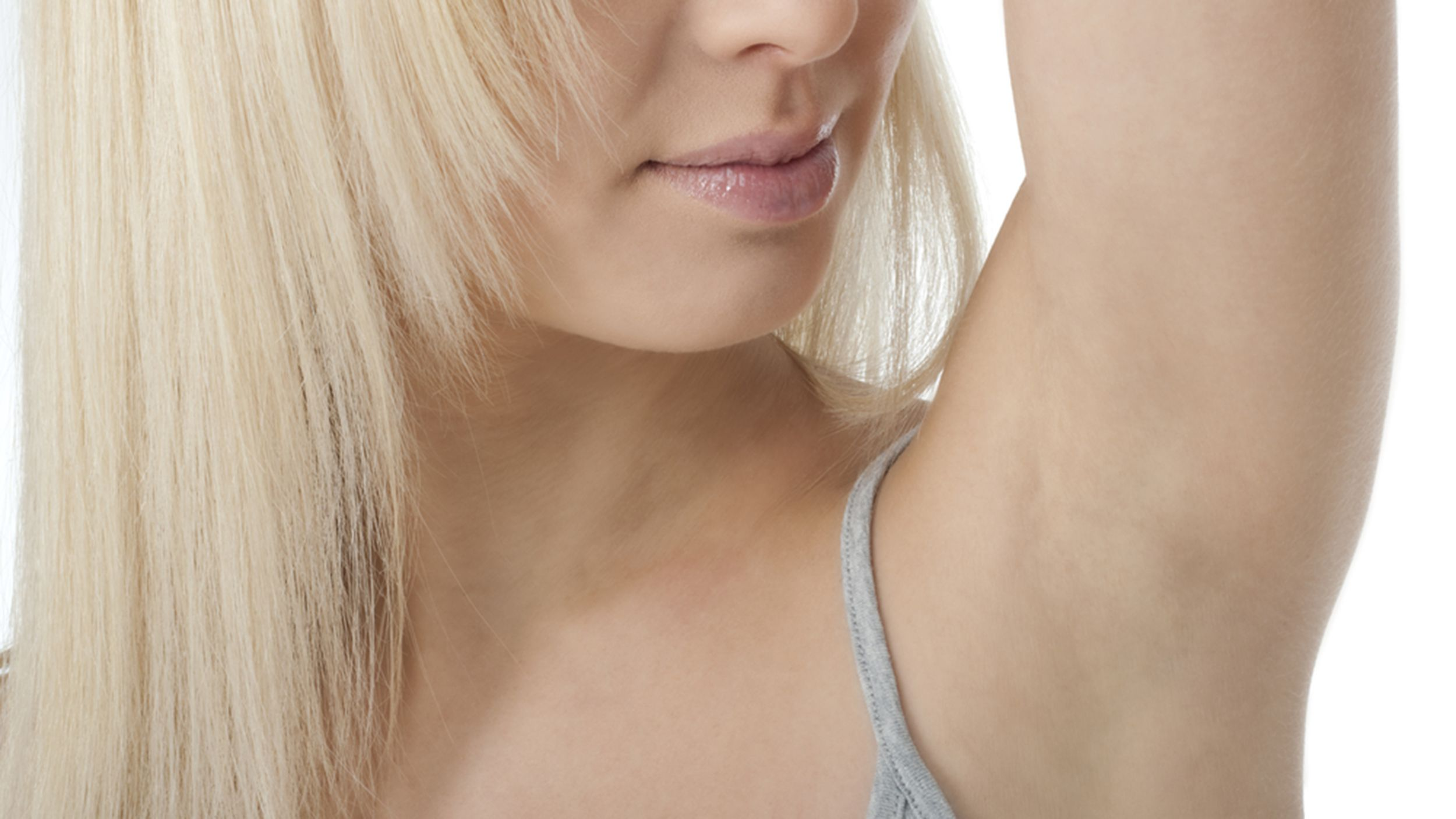 A woman with no underarm hair