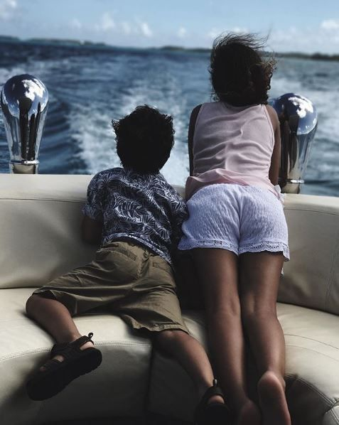 Halle Berry's two children on a boat