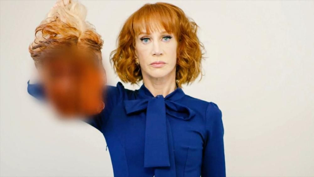 Kathy Griffin with a bloody Donald Trump head