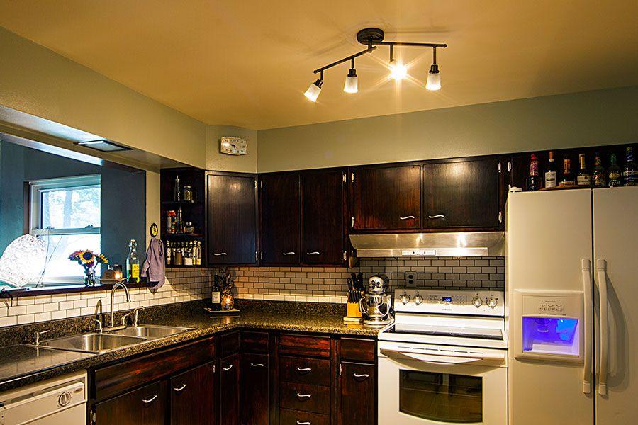 lightbulbs in a kitchen