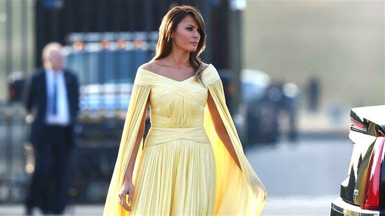Melania Trump in a yellow dress