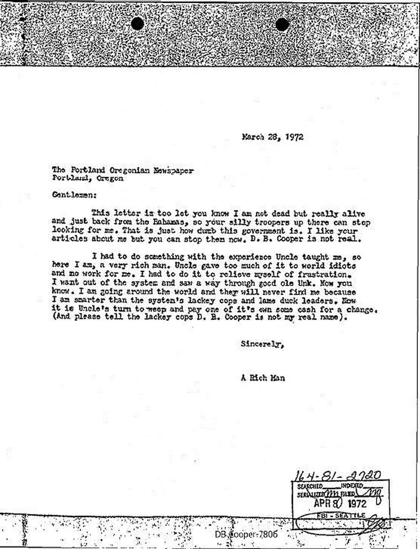 DB Cooper Letter