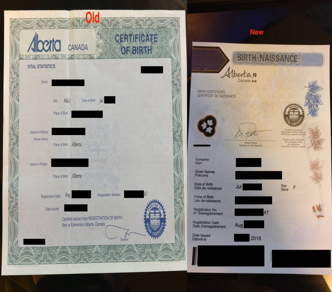 David's new birth certificate