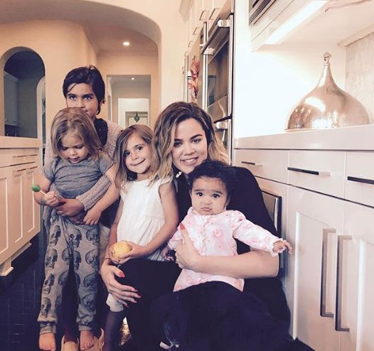 Khloe with her nieces and nephews