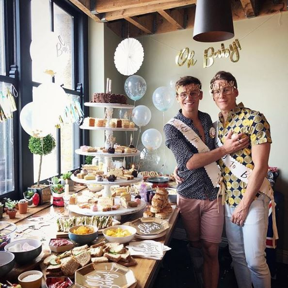 Tom Daley and Dustin Lance Black during their baby shower