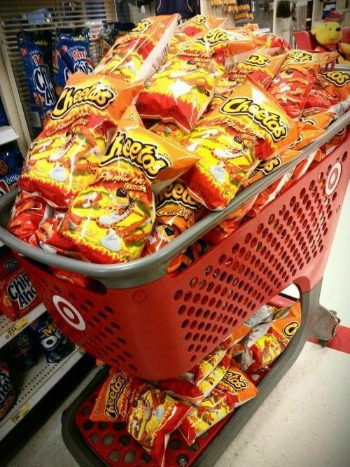 A cart full of cheetos