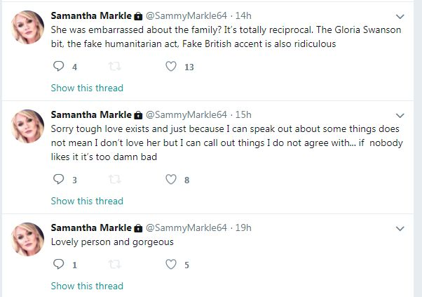 Samantha Markle's tweets
