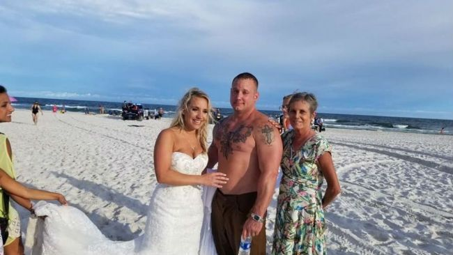 Beach wedding rescue