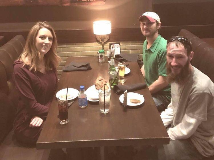 The trio having dinner
