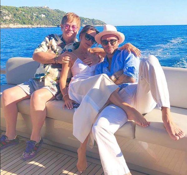 Elton John with Victoria and David Beckham