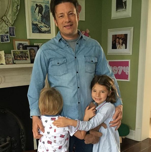 Jamie Oliver and two of his children