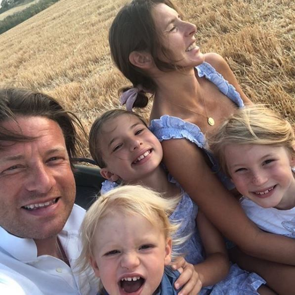 Jamie Oliver with his family
