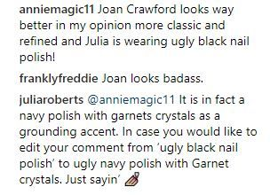 Julie Roberts Instagram comment