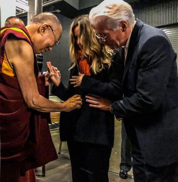 The Dalai Lama blessing Alejandra's baby bump