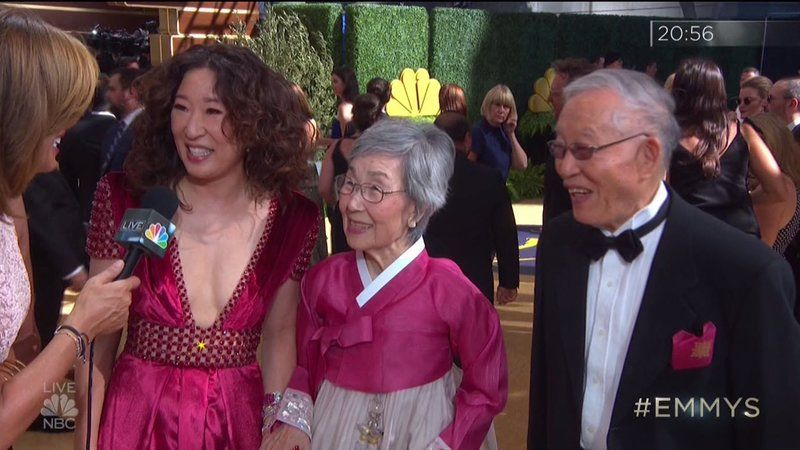 Sandra Oh and her parents