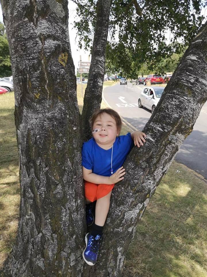 Zac posing by a tree