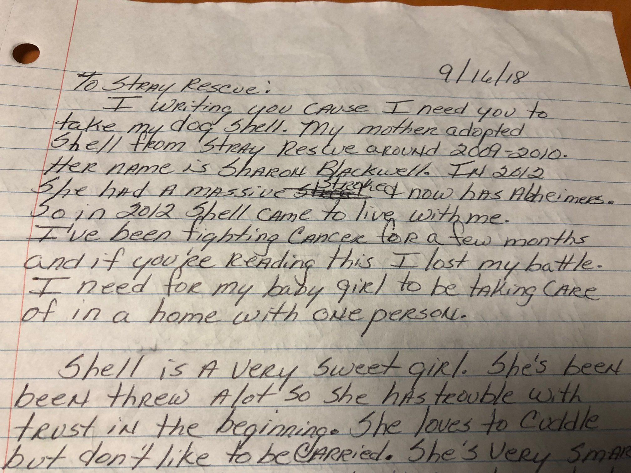 Letter left with dog at shelter