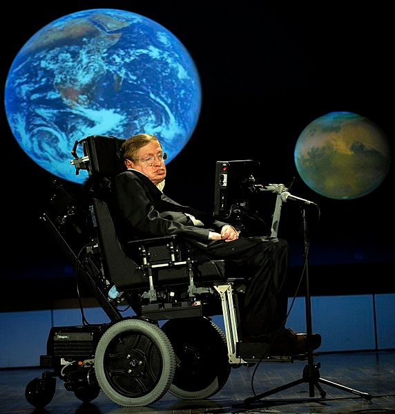 Stephen Hawking giving a lecture for NASA's 50th anniversary