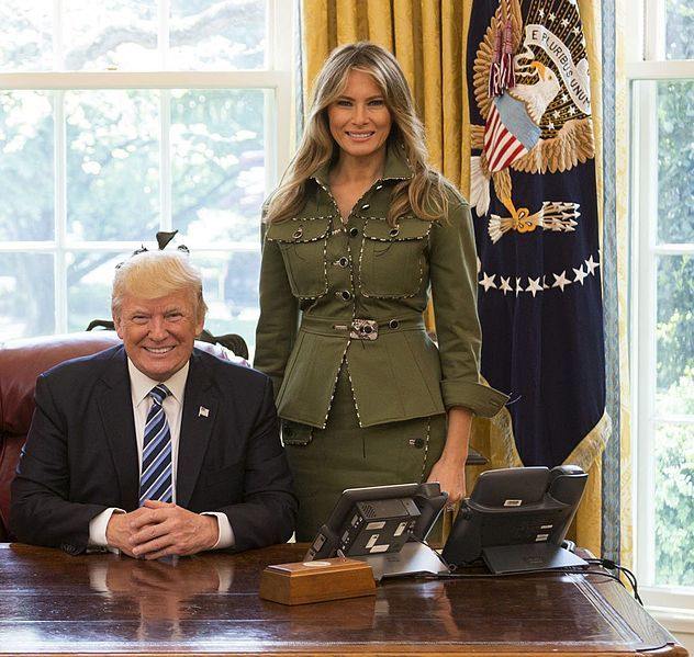 Donald and Melania Trump in the Oval Office