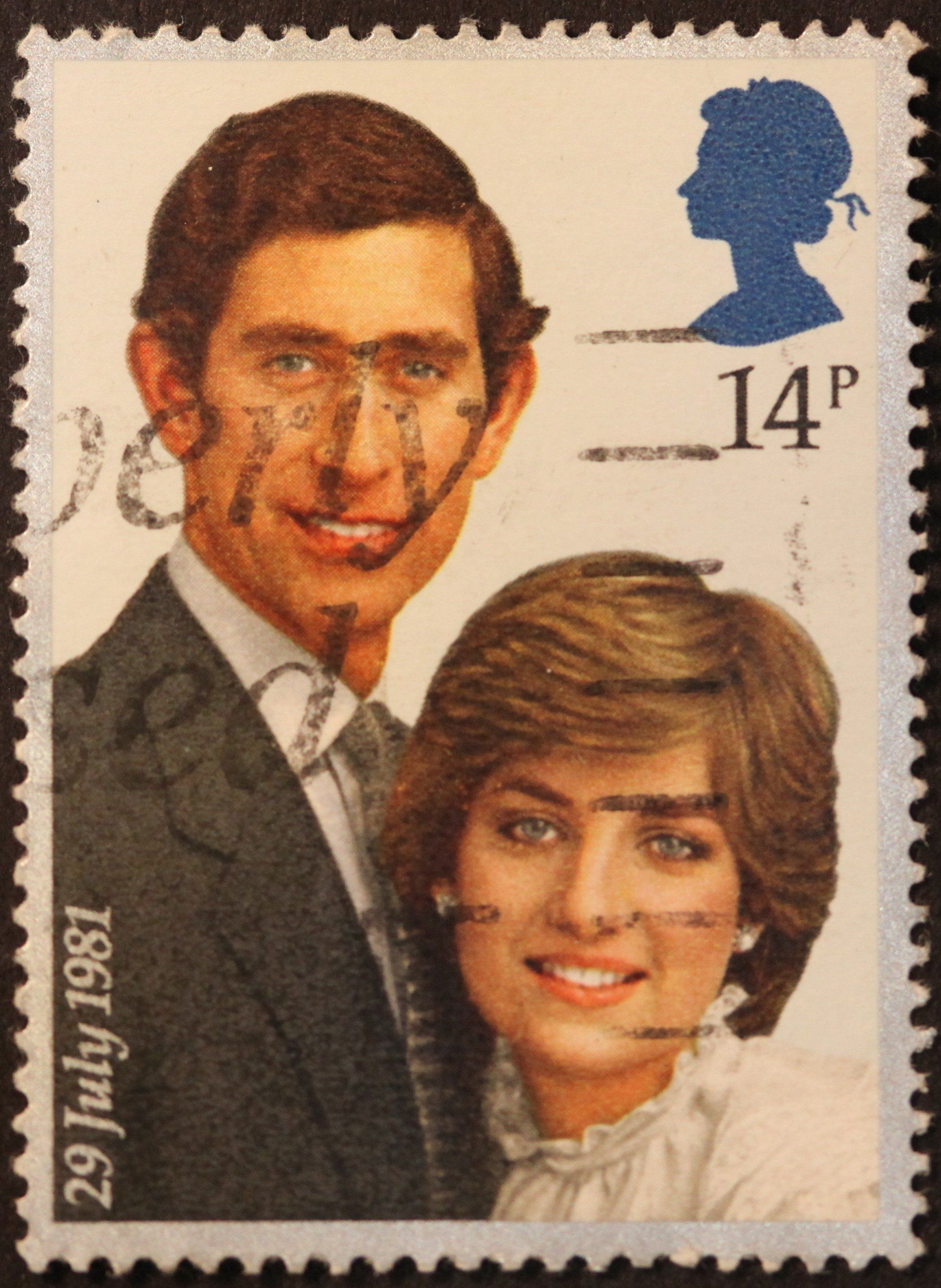 Stamp of Princess Diana and Prince Charles