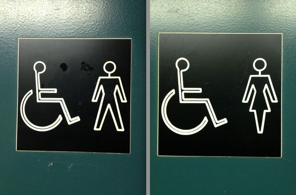 Public washroom sign
