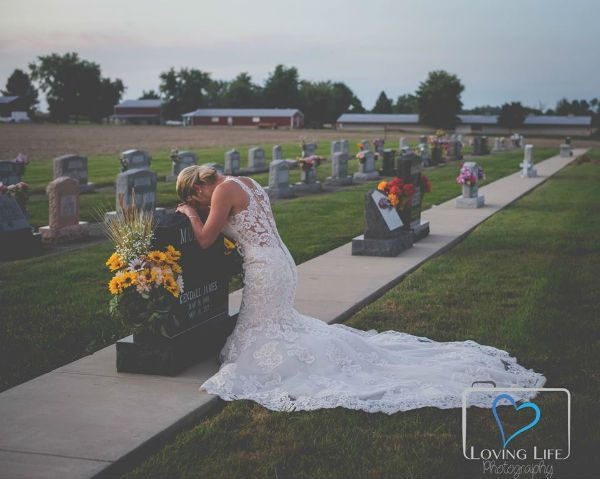 Bride Crying At Grave