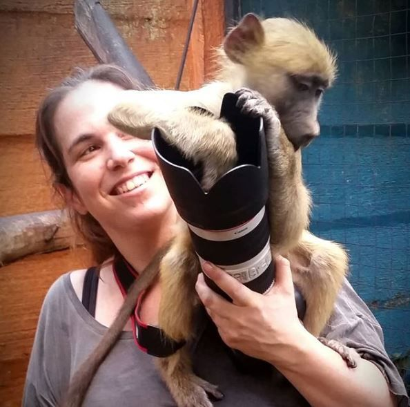 Dafna Ben Nun with baboon