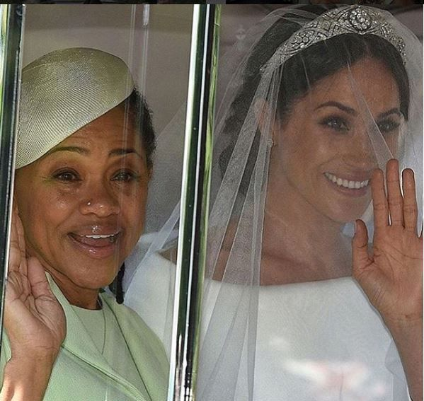 Meghan with her mother Doria on her wedding day