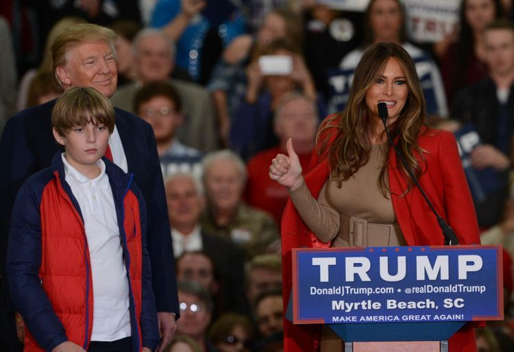 Melania Trump with Donald and Barron during a rally