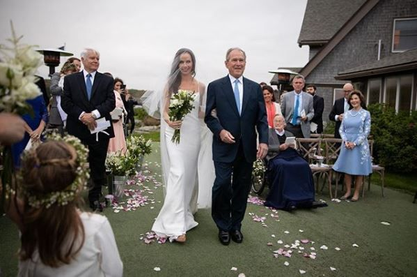 George W. Bush walks daughter Barbara down the aisle
