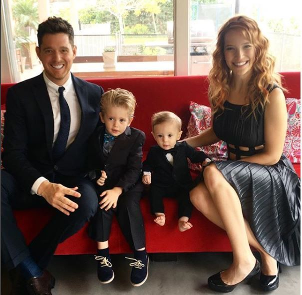 Michael Buble with his wife and two sons