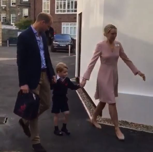 Prince George arriving at school