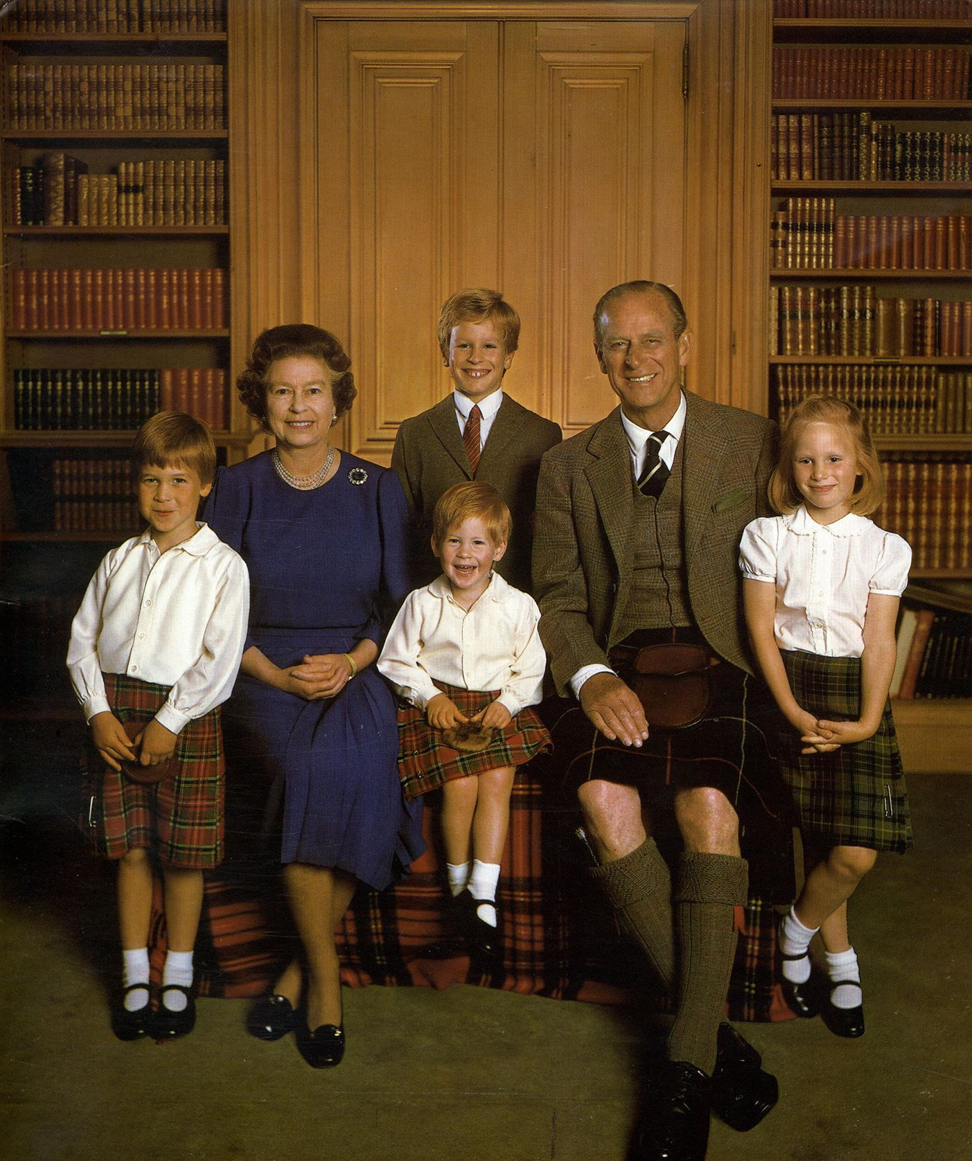 Patriot of Queen Elizabeth II and Prince Phillip with their grandchildren, Prince William, Prince Harry, Zara Tindall and Peter Phillips.