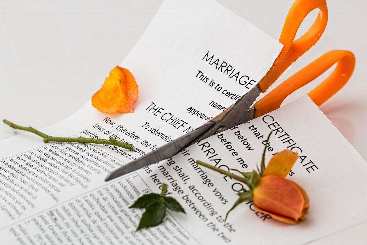 marriage certificate cut up