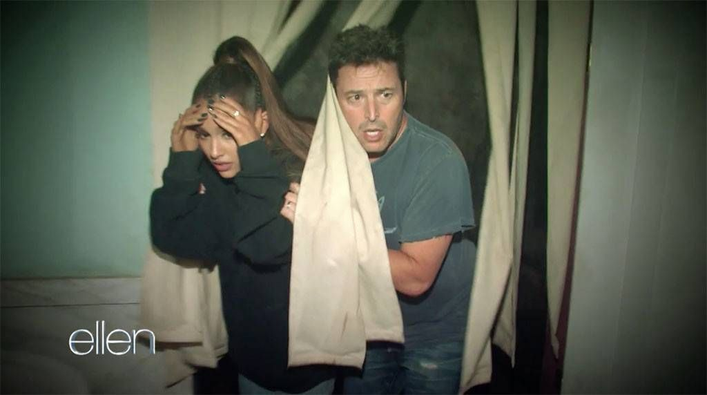 Andy Lassner and Ariana Grande at the haunted house