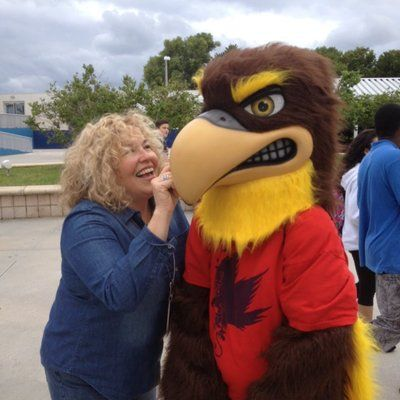 Mary Stratos and the school mascot