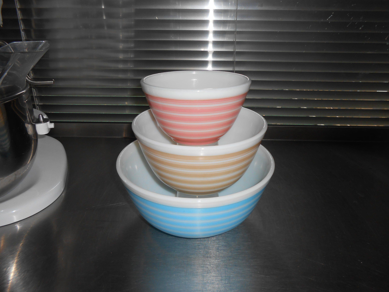 Pyrex Rainbow Stripe Bowls