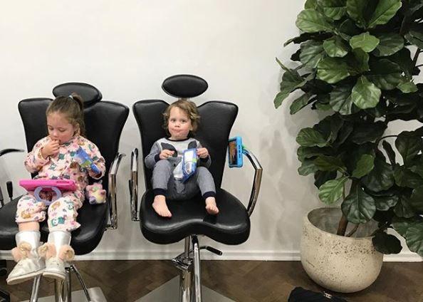 Kristen Fisher's kids in the salon