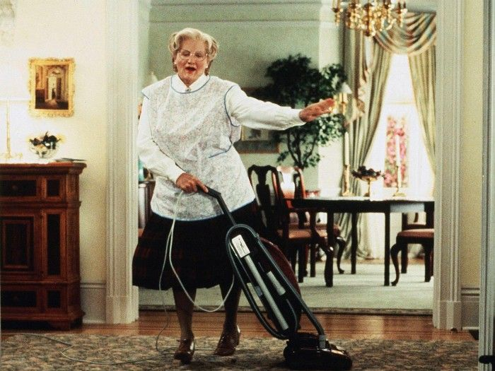 Mrs. Doubtfire vacuuming