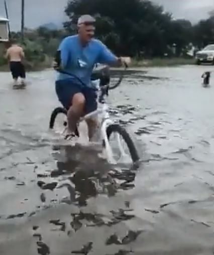 biking in water