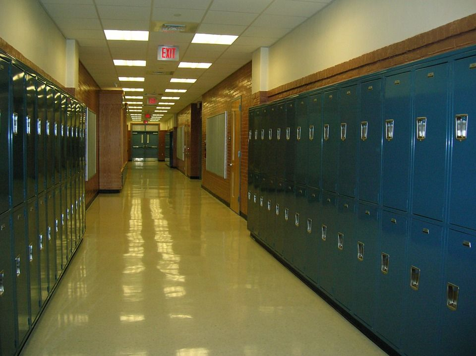 A hallway of lockers