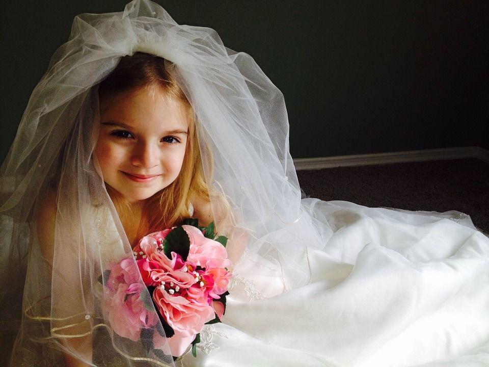 Girl dressed like a bride