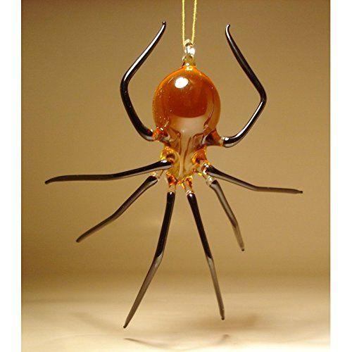 Glass spider ornament amber